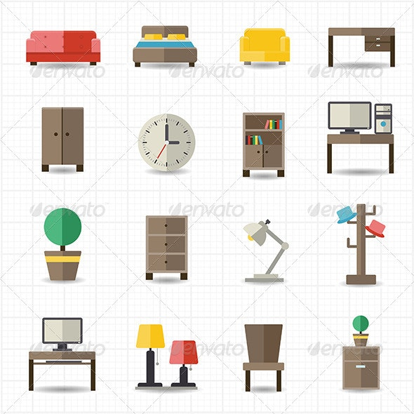 Home and Office Furniture Interiors - Objects Icons