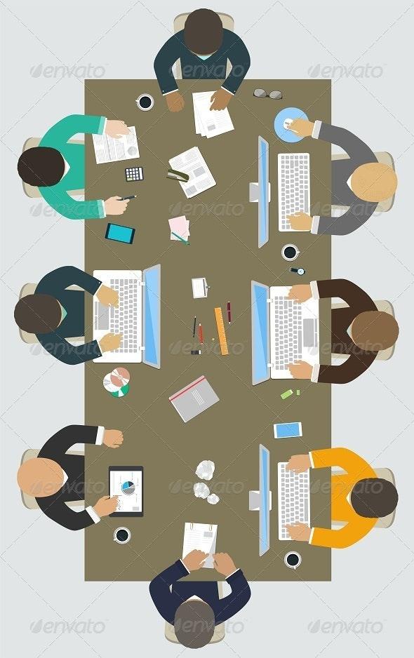 Teamwork Office Desk - Business Conceptual