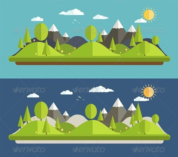 Natural Landscapes in a Flat Style. - Nature Conceptual