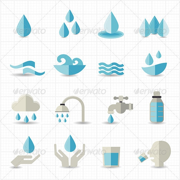 Water Related Icons - Food Objects