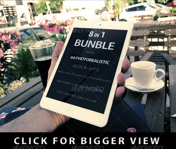 8 in 1 Bundle Realistic Screen with 64 Views - Displays Product Mock-Ups