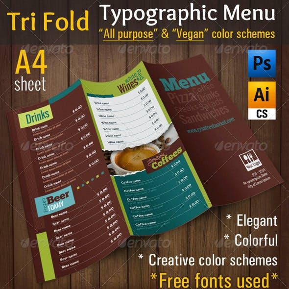 3 Fold Typographic Menu | All Purpose & Vegan Food