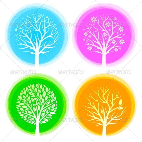 Four Seasons Vector Trees - Seasons Nature