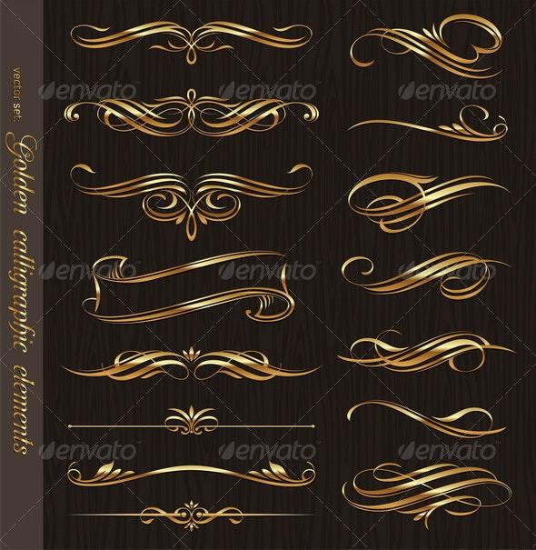 Golden Calligraphic Vector Design Elements - Flourishes / Swirls Decorative