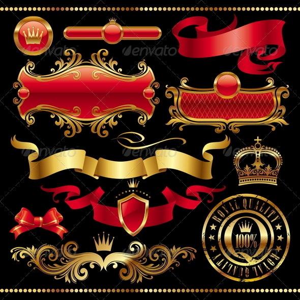Set of Golden Royal Design Element - Decorative Vectors