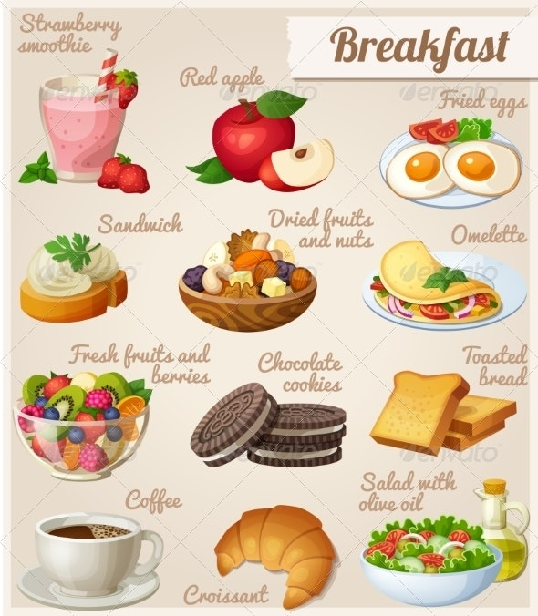 Set of Different Food Icons. Breakfast.   - Food Objects