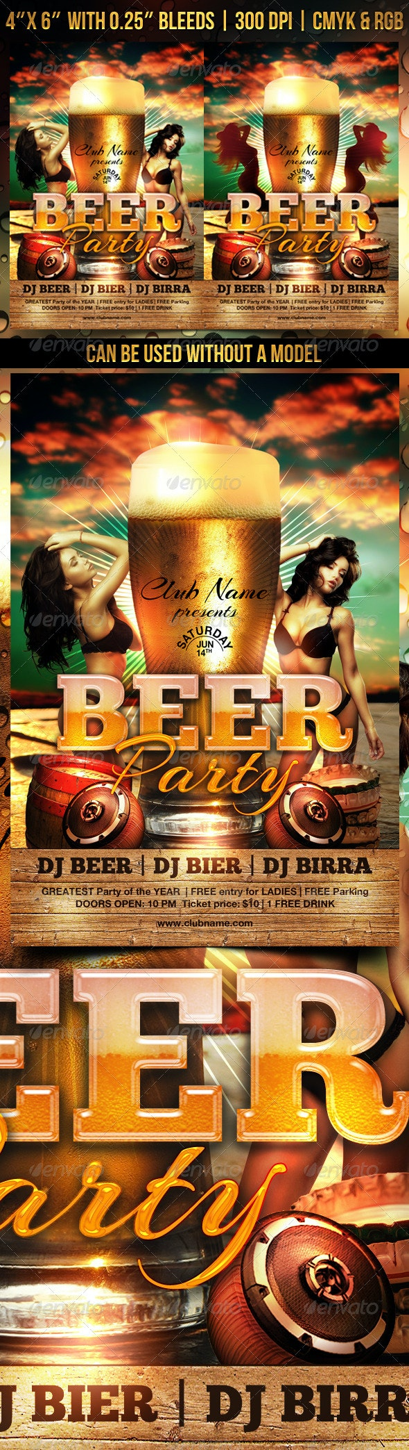 Beer Party Flyer Template - Clubs & Parties Events