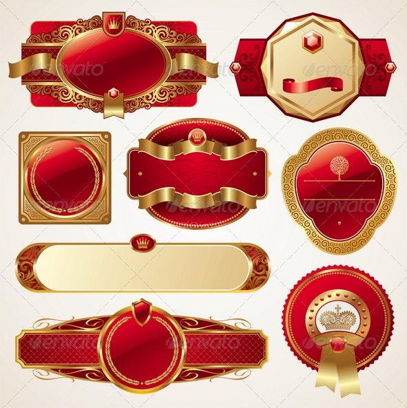 Set of Golden Luxury Ornate Frames - Decorative Vectors