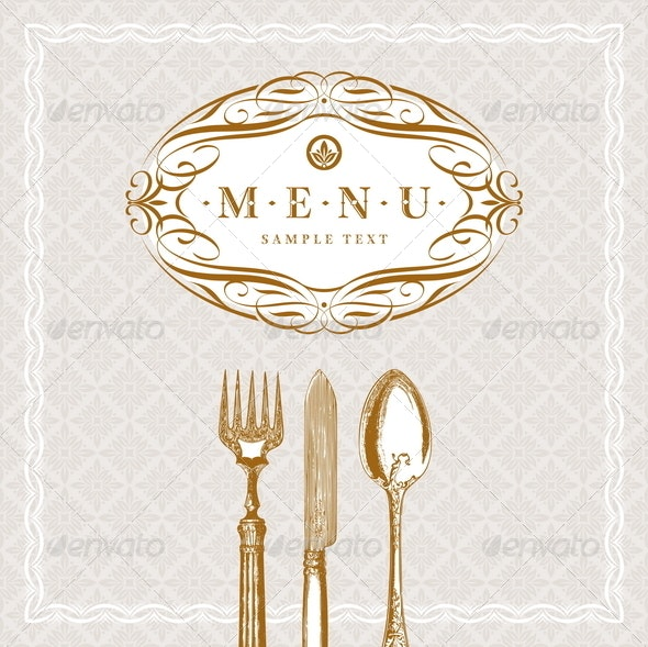 Menu Design with Vintage Cutleries - Objects Vectors