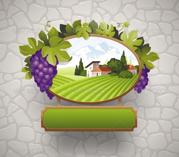 Vintage Signboard With Grapes  - Decorative Vectors