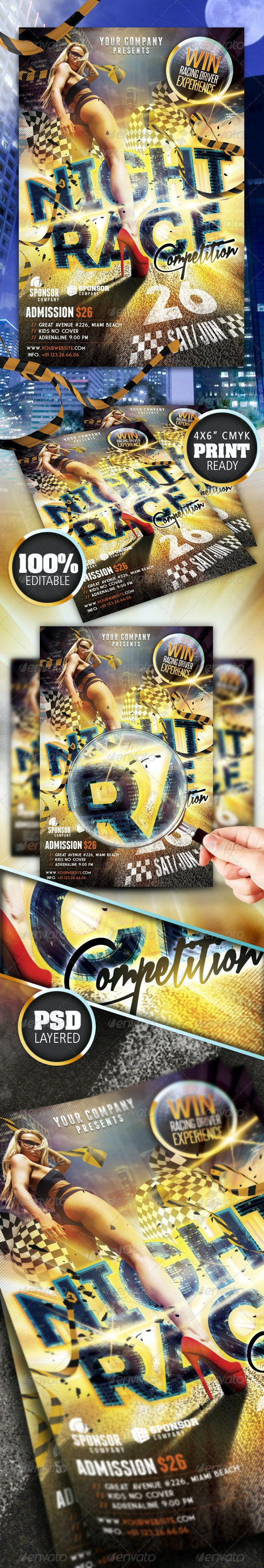 Night Race Flyer - Sports Events