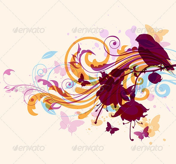 Abstract Background with Bird - Backgrounds Decorative