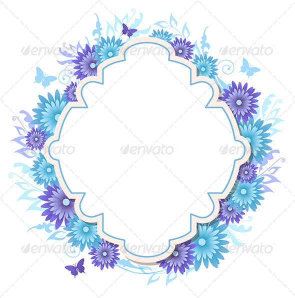 Background with Blue Flowers - Backgrounds Decorative