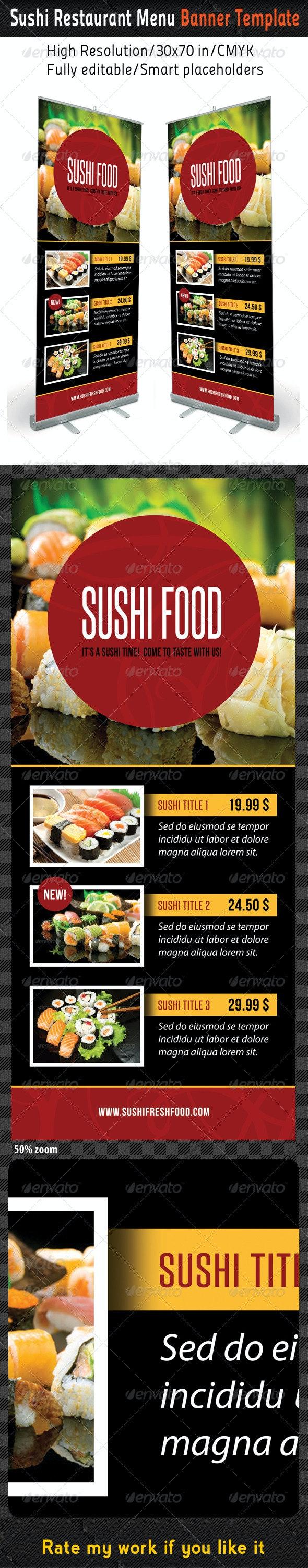 Sushi Restaurant Menu Banner Template 02 - Signage Print Templates