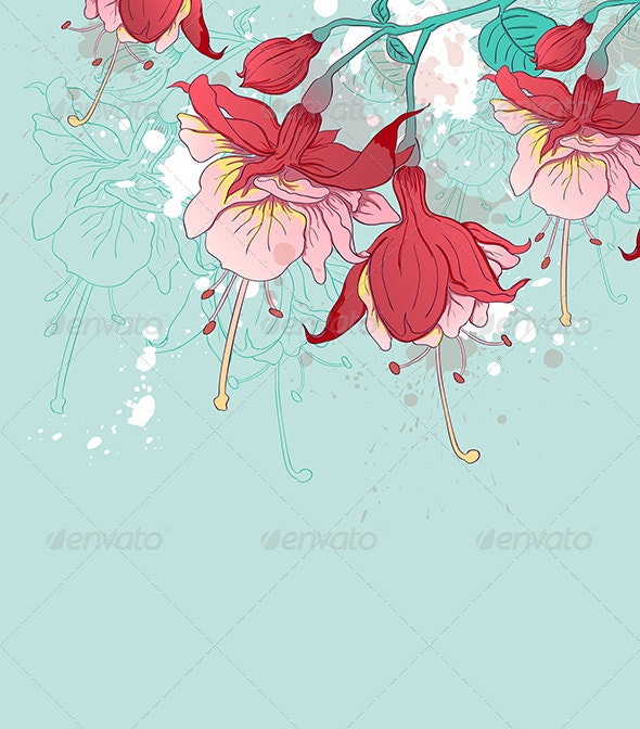 Abstract Green Background with Red Flowers - Flowers & Plants Nature