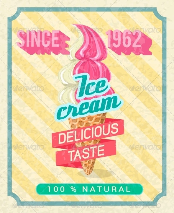 Poster with Strawberry Ice-Cream - Food Objects