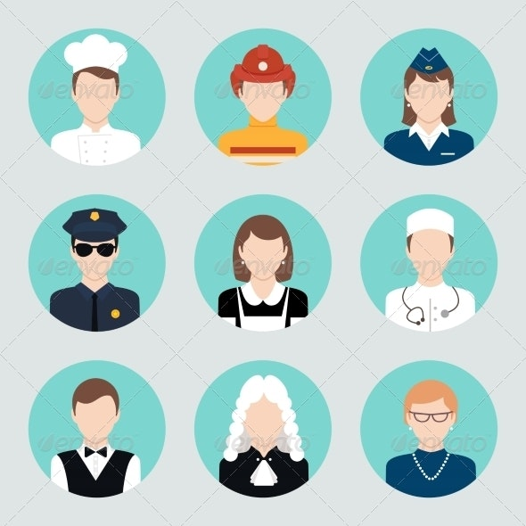 Avatar Flat Icons Set - People Characters