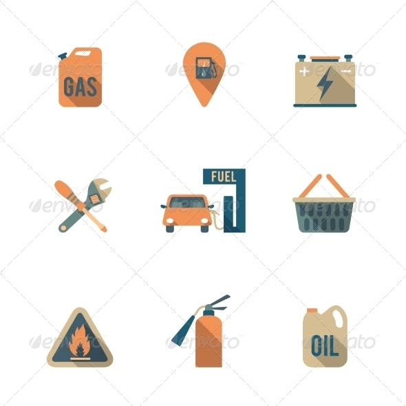 Fuel Pump Icons Set - Industries Business