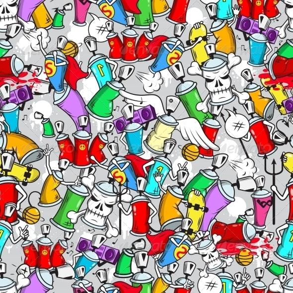 Graffiti Characters Seamless Pattern - Backgrounds Decorative