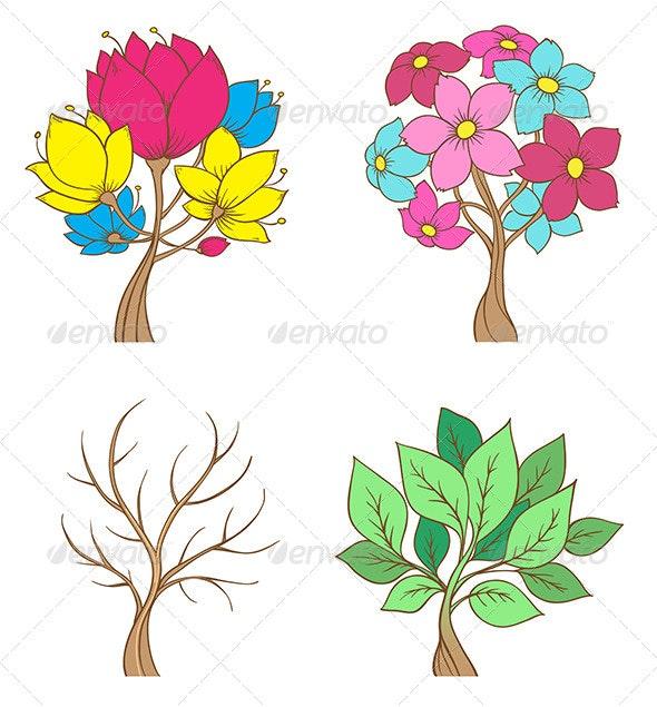 Set of Decorative Trees - Seasons Nature