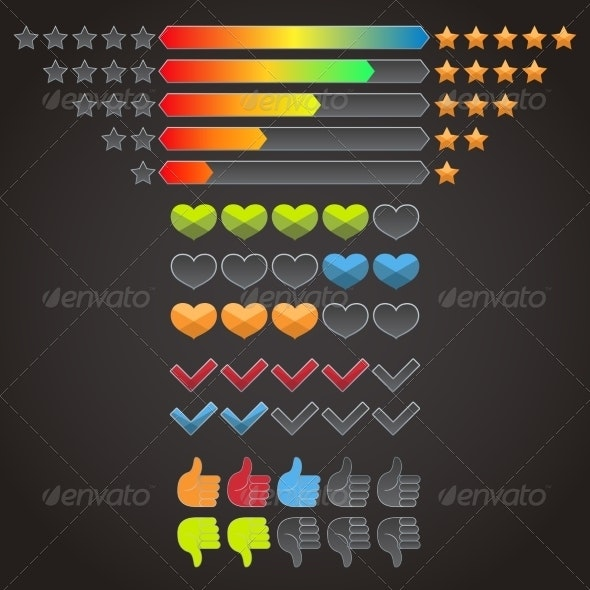 Colorful Rating Icons Set - Web Technology