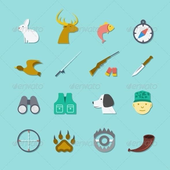 Set of Hunting Icons - Web Elements Vectors