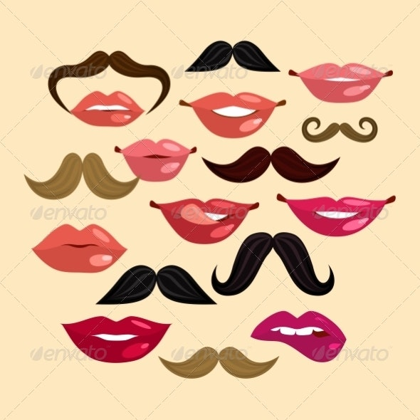 Lips and Mustaches - Backgrounds Decorative