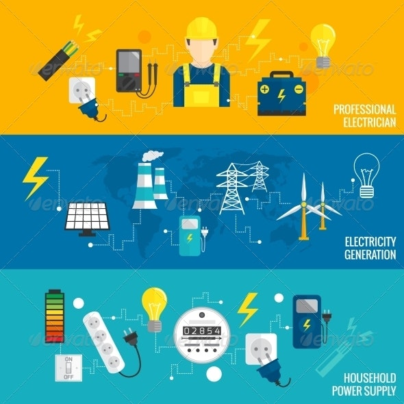 Set of Line Banner Energy Generation - Backgrounds Business