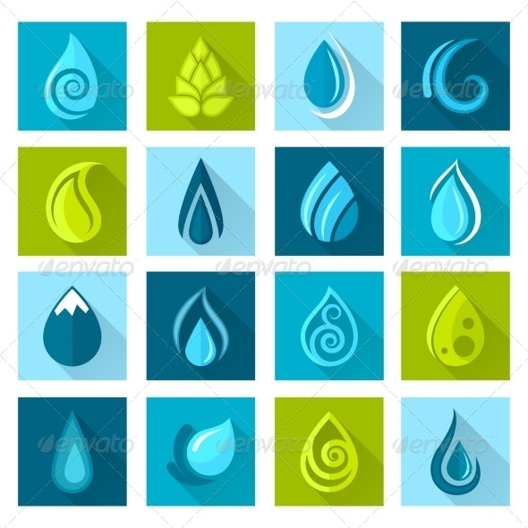Water Drops Icons - Abstract Icons