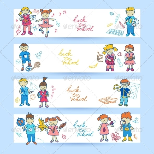 Set of Banners with Kids - Borders Decorative