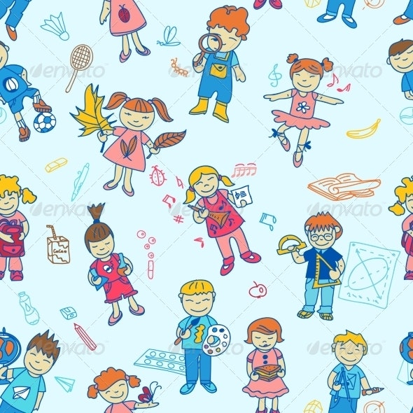 Seamless of Back to School Kids - Backgrounds Decorative