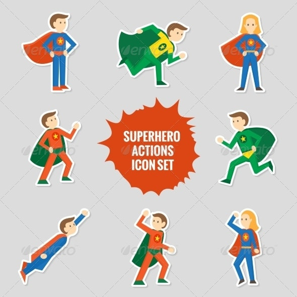 Set of Superheroes Stickers - Miscellaneous Characters
