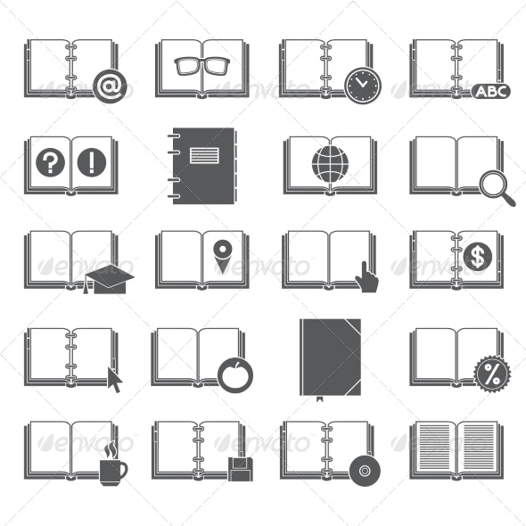 Books and Symbols Icons Set - Miscellaneous Icons