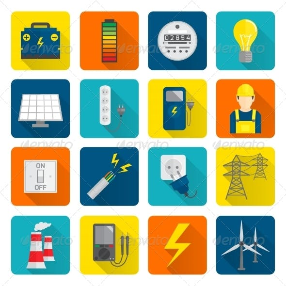 Electricity Energy Icons Set