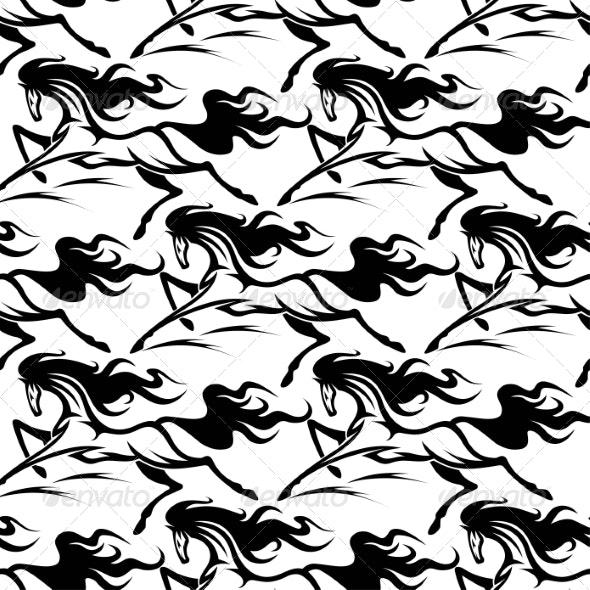 Horse Pattern - Backgrounds Decorative