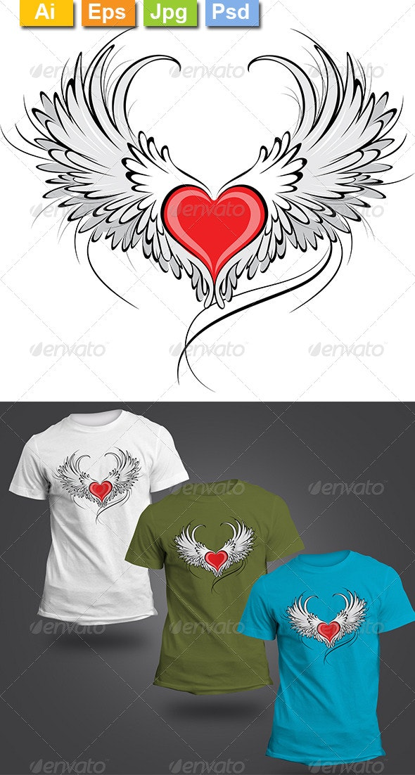 Red Heart Angel - Clean Designs