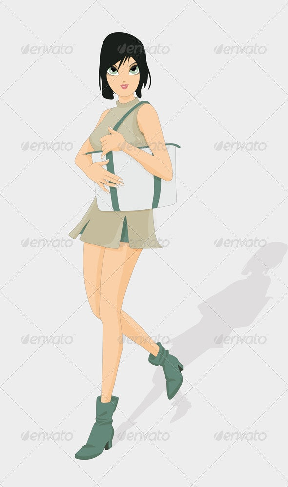 Woman Holding a Bag - People Characters