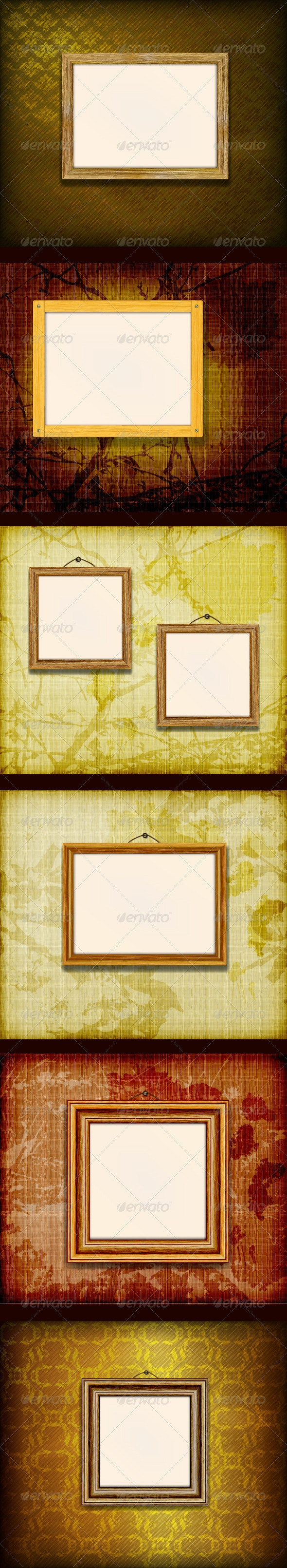 Wood Frames on a different Grunge Background - Backgrounds Decorative