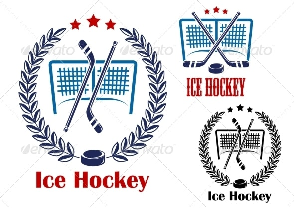 Ice Hockey Net Emblems - Sports/Activity Conceptual