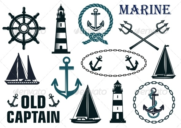 Marine Heraldic Elements Set - Travel Conceptual