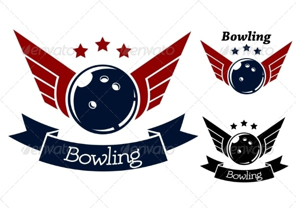 Bowling Symbols with Wings - Sports/Activity Conceptual