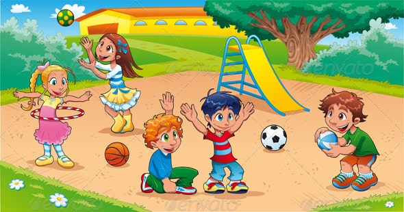 Kids in the Playground - People Characters