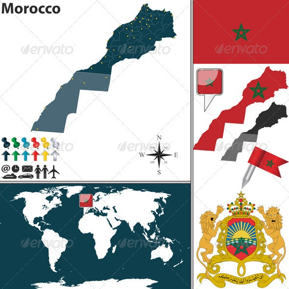 Map of Morocco - Travel Conceptual