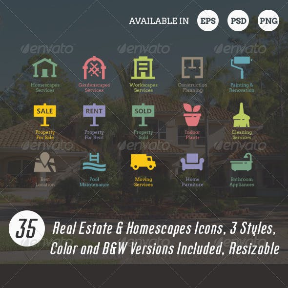 Real Estate & Homescapes Icons