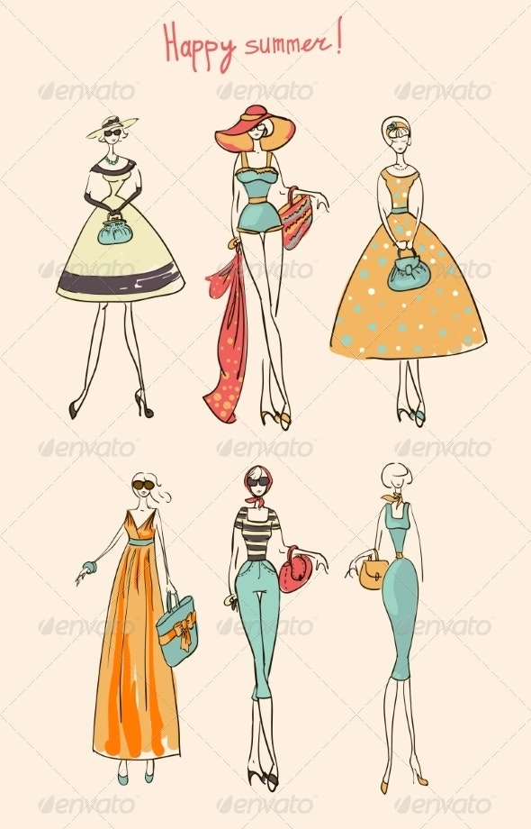 Illustration of a Girl Set - People Characters