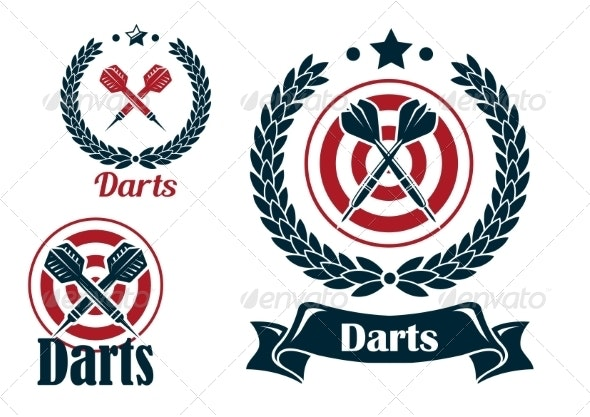 Three Different Darts Emblems or Badges - Sports/Activity Conceptual