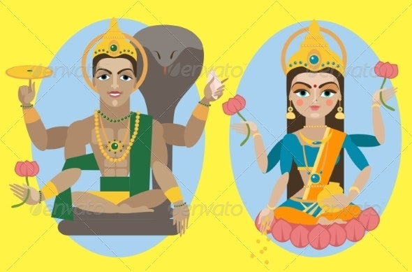 Lord Vishnu and Mata Lakshmi - Religion Conceptual
