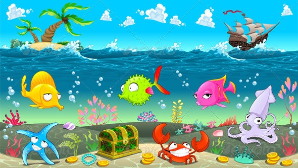 Funny Scene under the Sea. - Animals Characters