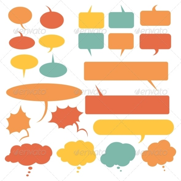 Set of Flat Comic Talk and Think Bubbles - Abstract Conceptual