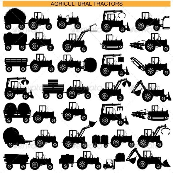 Agricultural Tractor Pictograms - Industries Business